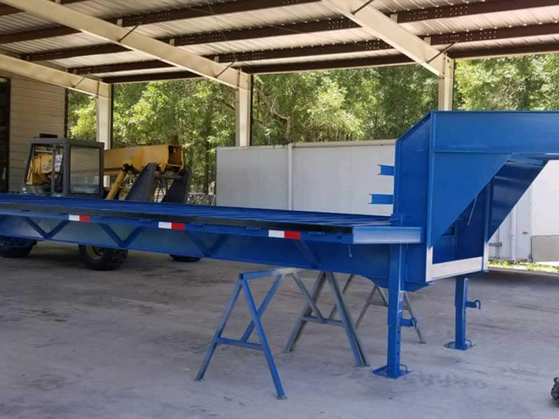 Sand blasted and painted trailer